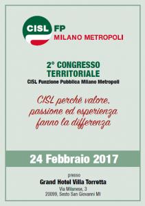 Locandina II Congresso CISL FP Milano Metropoli