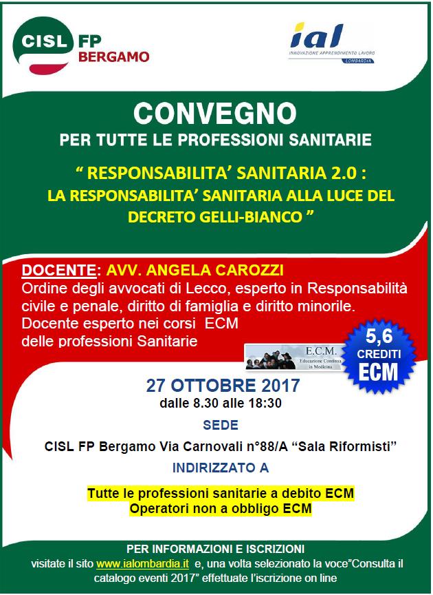 Corso ecm Bergamo 27 ottobre 2017