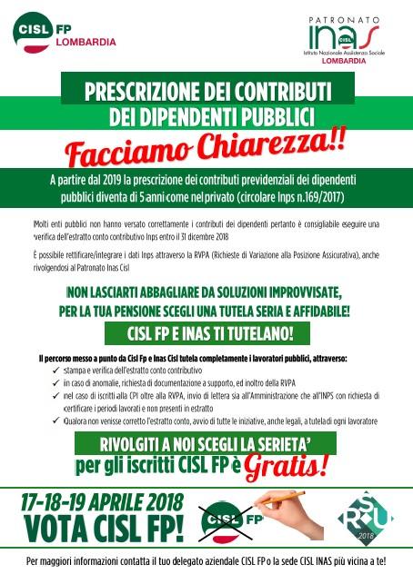 Prescrizione contributi dip. pubblici CISL FP