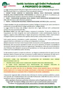 A proposito di Ordini - Volantino sugli Ordini Professionali CISL FP Lombardia