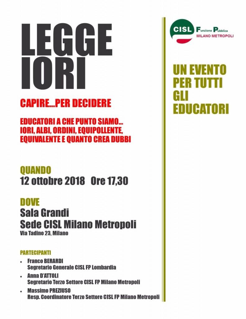 Locandina incontro CISL FP Milano 121018