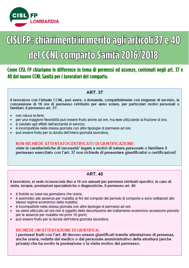 Volantino chiarimenti artt.37 e 40 CCNL Sanità