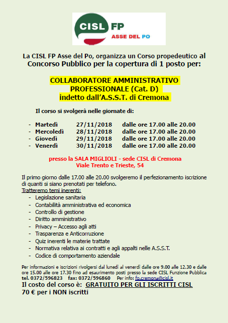 Corso CISL FP ASSE PO per concorso ASST Cremona
