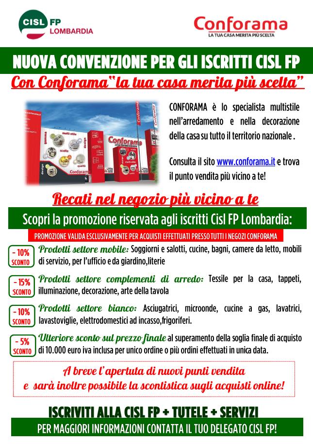 Conforama convenzione CISL FP Lombardia