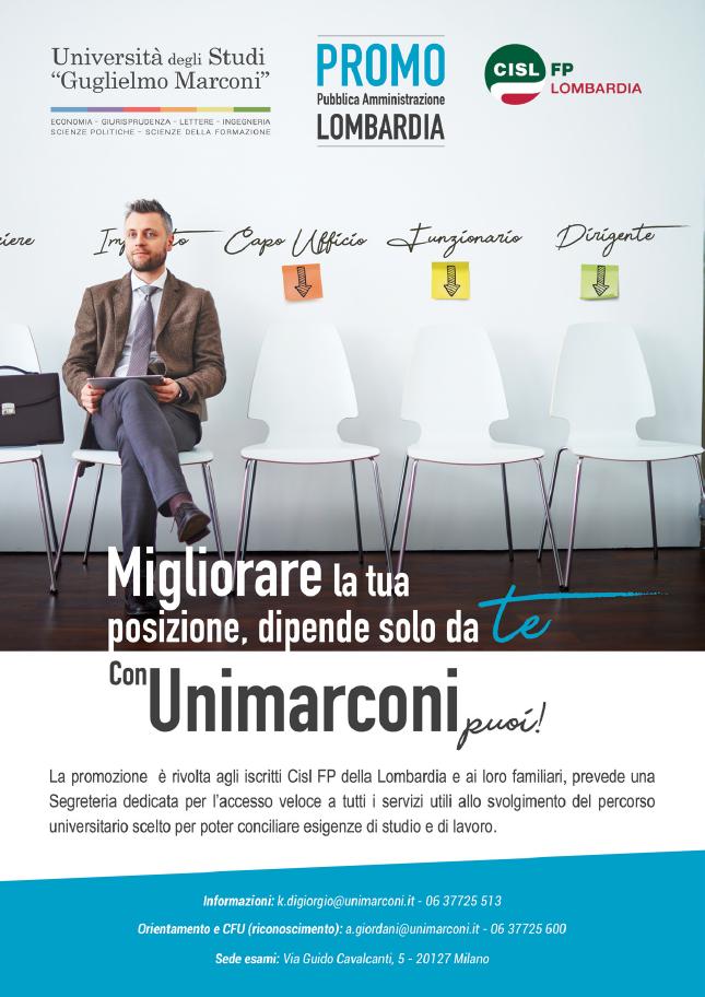 promo lombardia unimarconi convenzione cisl fp lombardia