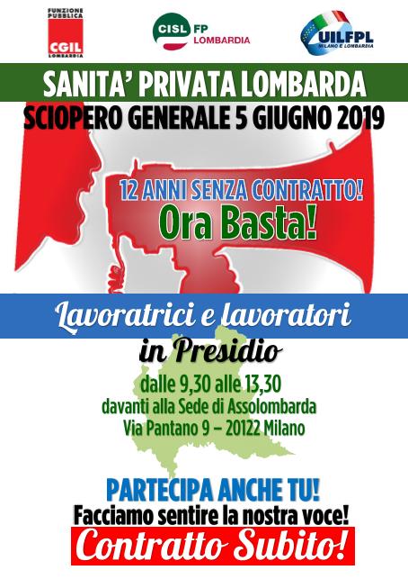 Sciopero generale unitario Sanità Privata Lombardia 050619