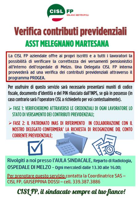 ASST Melegnano Martesana Verifica Contributi Previdenziali CISL FP
