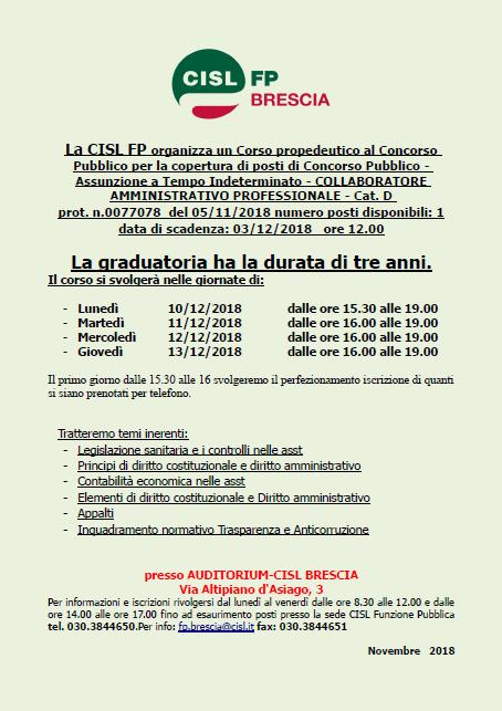 CISL FP Brescia Corso per concorso ASST Spedali Civili