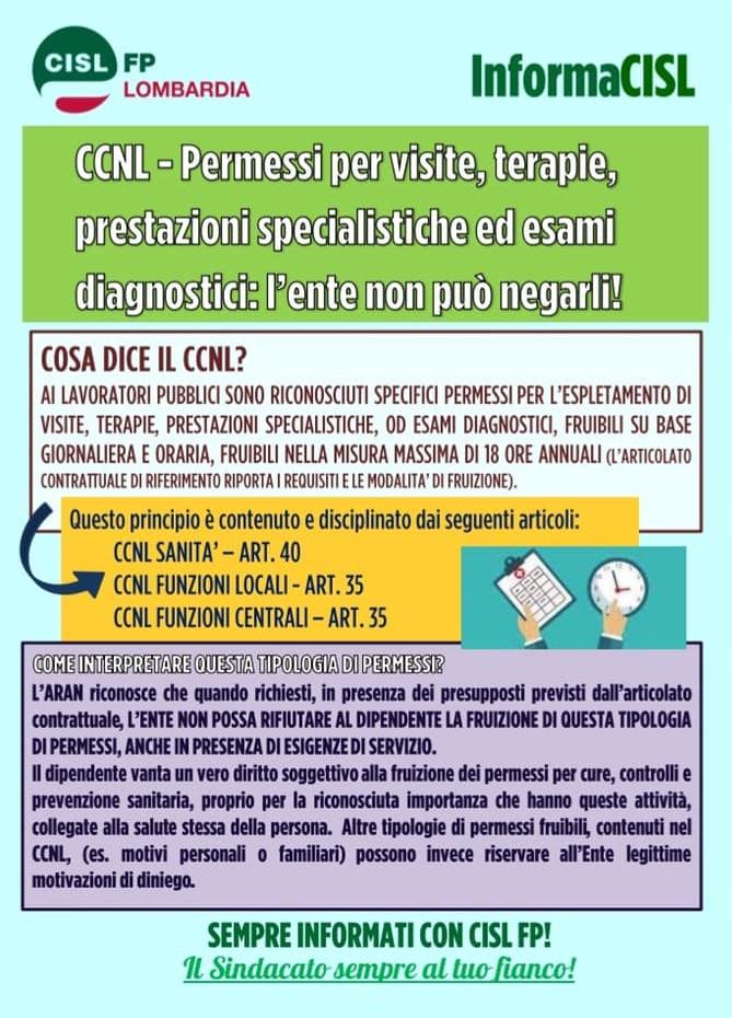 Volantino CISL FP Lombardia Permessi per visite, terapie, prest. spec. e esami diagnostici
