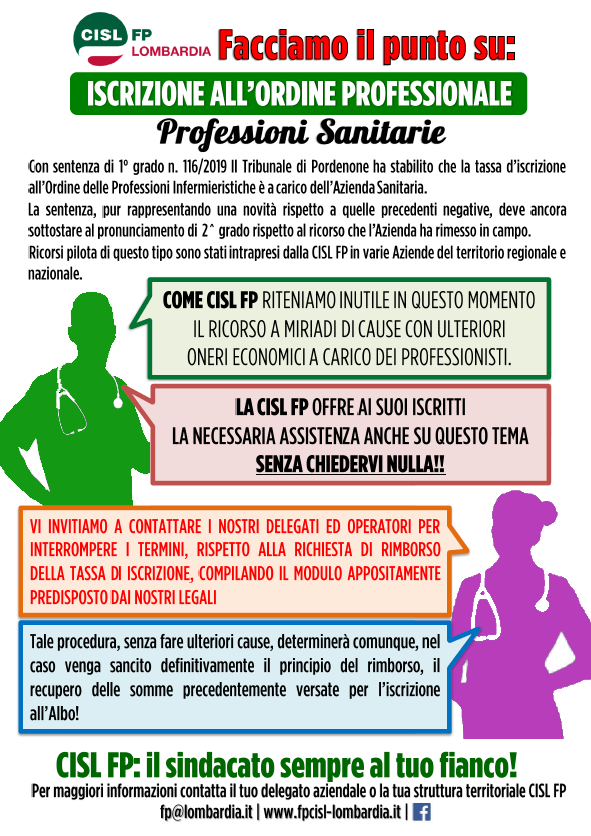 Facciamo il punto su Iscrizione Ordini Professionali CISL FP Lombardia